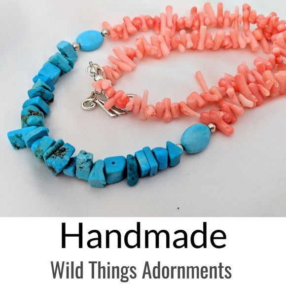 Wildthingsadornments Jewelry - Handmade blue turquoise & coral statement necklace